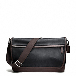 COACH F70924 Camden Leather Messenger GUNMETAL/DISTRESSED NAV/MAH