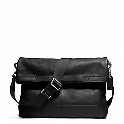 COACH F70928 Camden Leather Foldover Tote GUNMETAL/BLACK/BLACK
