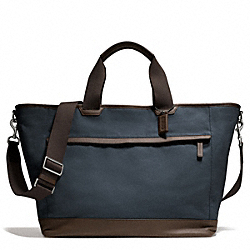 COACH F70931 Camden Canvas Weekend Tote GUNMETAL/NAVY
