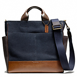 COACH F70945 Bleecker Canvas Utility Tote NAVY/FAWN
