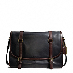 COACH F70960 Bleecker Harness Leather Courier Bag BRASS/BLACK/MAHOGANY