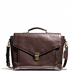 CROSBY BOX GRAIN LEATHER FLAP BRIEF - f70961 - BRASS/MAHOGANY