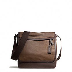 CAMDEN LEATHER MAP BAG - f70973 - GUNMETAL/DISTRESSED BROWN/BRN