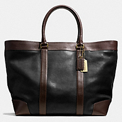 COACH F70983 Bleecker Weekend Tote In Harness Leather  BRASS/BLACK/MAHOGANY