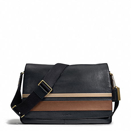 COACH f70986 BLEECKER DEBOSSED PAINTED STRIPE LEATHER COURIER BAG BRASS/MAHOGANY/NAVY