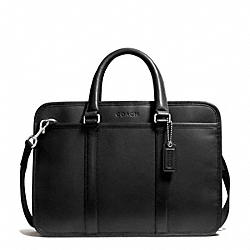 COACH F71016 - LEXINGTON LEATHER MIXED MATERIAL COMMUTER SILVER/BLACK/BLACK