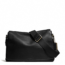 COACH F71070 Bleecker Pebbled Leather Courier Bag BRASS/BLACK