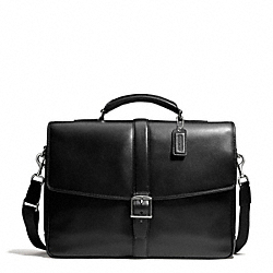COACH F71073 - LEXINGTON LEATHER FLAP BUSINESS BRIEF SILVER/BLACK