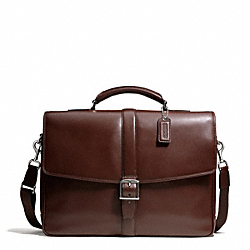 COACH F71073 Lexington Leather Flap Business Brief SILVER/MAHOGANY