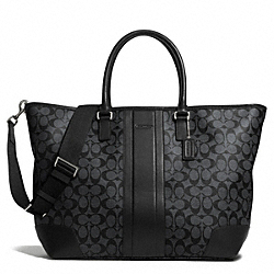 COACH F71130 Coach Heritage Signature Weekend Tote SILVER/CHARCOAL/BLACK