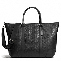 COACH F71138 Heritage Web Leather Embossed C Weekend Tote SILVER/BLACK