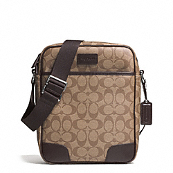 COACH HERITAGE SIGNATURE FLIGHT BAG - f71167 - SILVER/KHAKI/BROWN