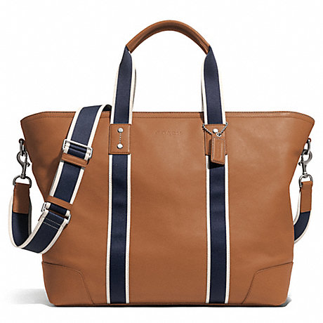 Coach F71169 Heritage Web Leather Weekend Tote Silver Saddle