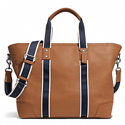 HERITAGE WEB LEATHER WEEKEND TOTE - f71169 - SILVER/SADDLE