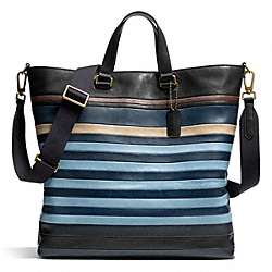COACH F71197 Bleecker Bar Stripe Day Tote BRASS/DARK ROYAL/CADET