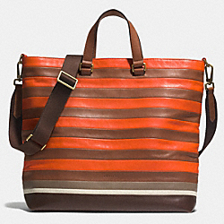 COACH F71197 Bleecker Day Tote In Bar Stripe Leather  BRASS/SAMBA/FAWN