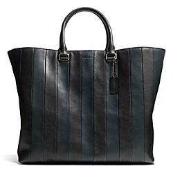 COACH F71213 Bleecker Shopper In Bar Stripe Leather  BRASS/NAVY/BLACK