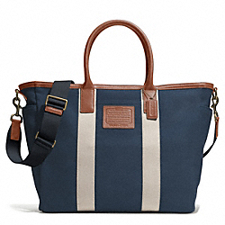 COACH F71266 Getaway Heritage Solid Canvas Beach Tote ANTIQUE BRASS/NAVY/SADDLE