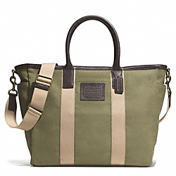 COACH F71266 Getaway Heritage Solid Canvas Beach Tote ANTIQUE BRASS/OLIVE/MAHOGANY