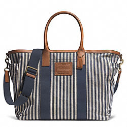 COACH F71267 Getaway Heritage Railroad Stripe Canvas Beach Tote