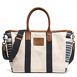 COACH F71268 - GETAWAY HERITAGE VINTAGE STRIPE CANVAS BEACH TOTE ONE-COLOR