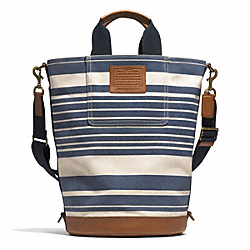 COACH F71275 - HERITAGE BEACH CANVAS VINTAGE STRIPE BARREL BAG AB/NAVY MULTI/SADDLE