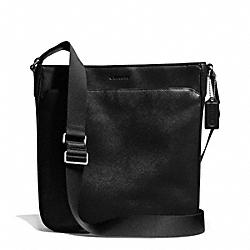 COACH F71286 Lexington Saffiano Leather Zip Top Business Crossbody SILVER/BLACK