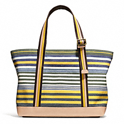 COACH F71310 Bleecker Beach Tote In Striped Canvas  BRASS/MUSTARD