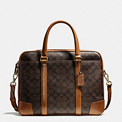 COACH F71327 Bleecker Slim Brief In Signature Coated Canvas BRASS/MAHOGANY/BROWN