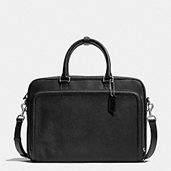 COACH F71330 City Brief In Saffiano Leather SILVER/BLACK