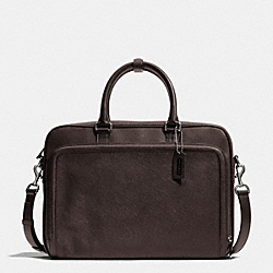 COACH F71330 - CITY BRIEF IN SAFFIANO LEATHER SILVER/MAHOGANY