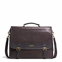 COACH F71333 Essex Leather Messenger GUNMETAL/BARK/DARK BROWN