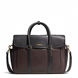 COACH F71339 Essex Leather Flap Commuter GUNMETAL/BARK/DARK BROWN