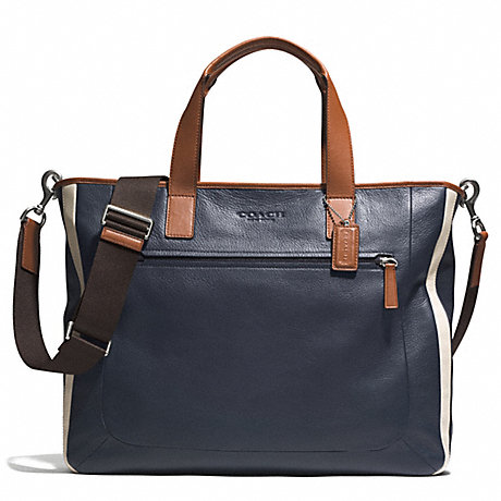 COACH f71349 HERITAGE SPORT SUPPLY BAG SILVER/NAVY/SADDLE