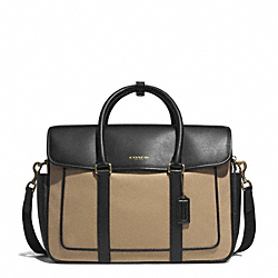 COACH F71387 Essex Canvas Flap Commuter GUNMETAL/BARLEY/BLACK