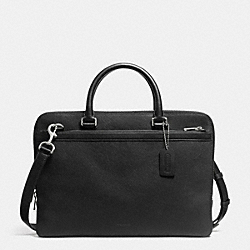 COACH F71417 Compact Brief In Saffiano Leather  SILVER/BLACK