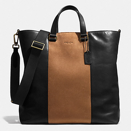 COACH f71428 BLEECKER CENTER STRIPE DAY TOTE IN LEATHER BRASS/BLACK/FAWN