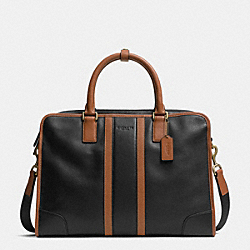 COACH F71458 Heritage Web Leather Bombe Colorblock Director Brief BRASS/BLACK/SADDLE