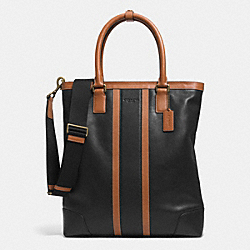 COACH F71459 Heritage Web Leather Bombe Colorblock Business Tote BRASS/BLACK/SADDLE