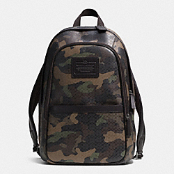 COACH F71500 - HERITAGE SIGNATURE EMBOSSED COATED CANVAS BACKPACK  GUNMETAL/FATIGUE CMFLAGE/BRN