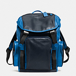 COACH F71508 Sport Backpack In Leather  GUNMETAL/COBALT/NAVY