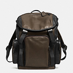 COACH F71508 Sport Backpack In Leather  GUNMETAL/OLIVE/BLACK
