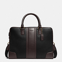 DIRECTOR BRIEF IN BOMBE LEATHER - f71639 - BLACK/MAHOGANY