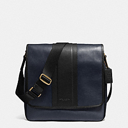 COACH F71641 - HERITAGE MAP BAG IN BOMBE LEATHER NAVY/BLACK