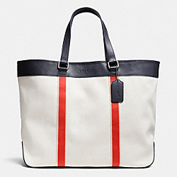 COACH F71687 Weekend Tote In Twill CHALK/CORAL