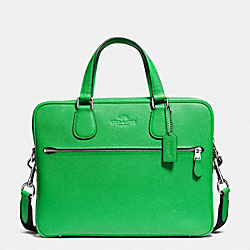 COACH F71710 - COACH HUDSON 5 BAG IN CROSSGRAIN LEATHER SILVER/GREEN