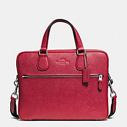 COACH F71710 - COACH HUDSON 5 BAG IN CROSSGRAIN LEATHER SILVER/RED