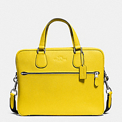 COACH F71710 - COACH HUDSON 5 BAG IN CROSSGRAIN LEATHER SILVER/YELLOW