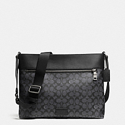COACH F71717 Sam Crossbody In Embossed Signature BLACK ANTIQUE NICKEL/CHARCOAL