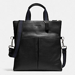 COACH F71722 Foldover Tote In Smooth Leather BLACK